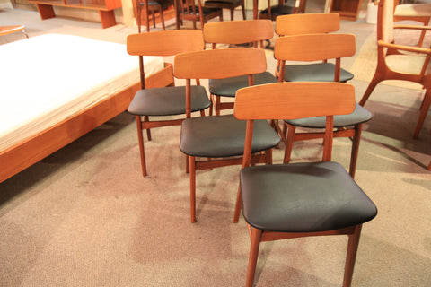 Set of 6 Vintage Teak Dining Chairs (newly recovered)