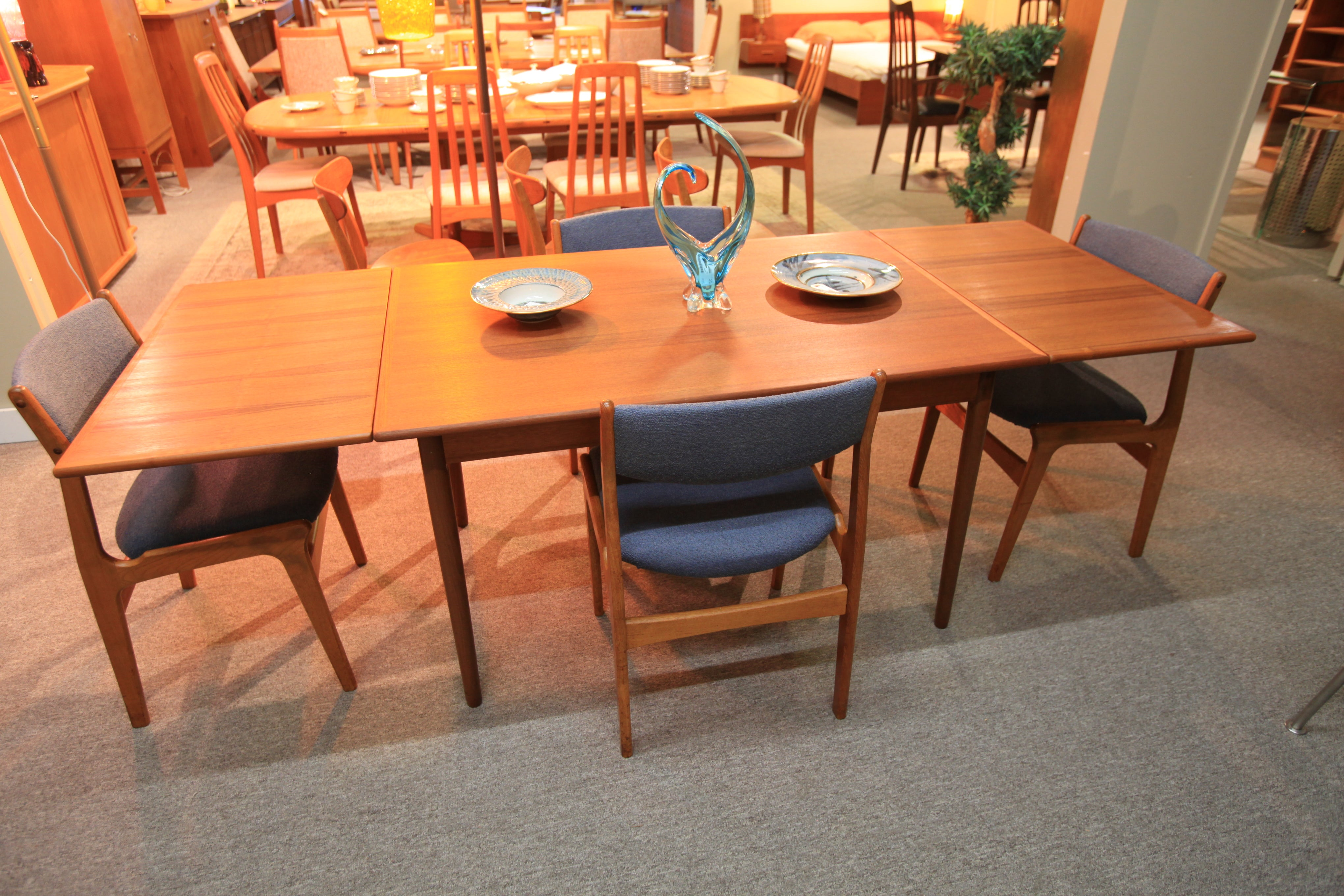 "Vintage Danish Teak Dining Table w/ Pullout Extensions (85"" x 32.5"") or (48"" x 32.5"")"
