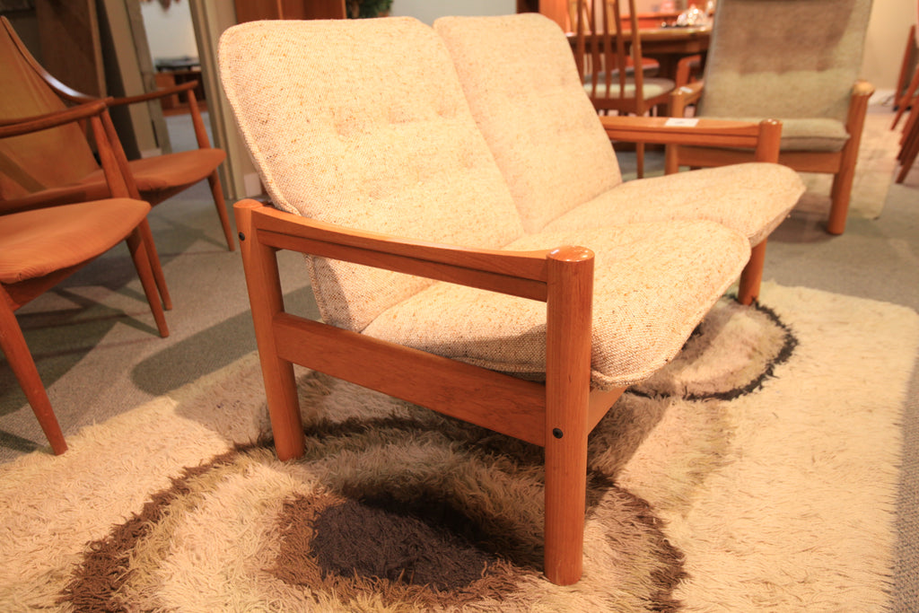 "Vintage Danish Teak Love Seat by Domino Mobler (50""W x 28""D x 31""H)"