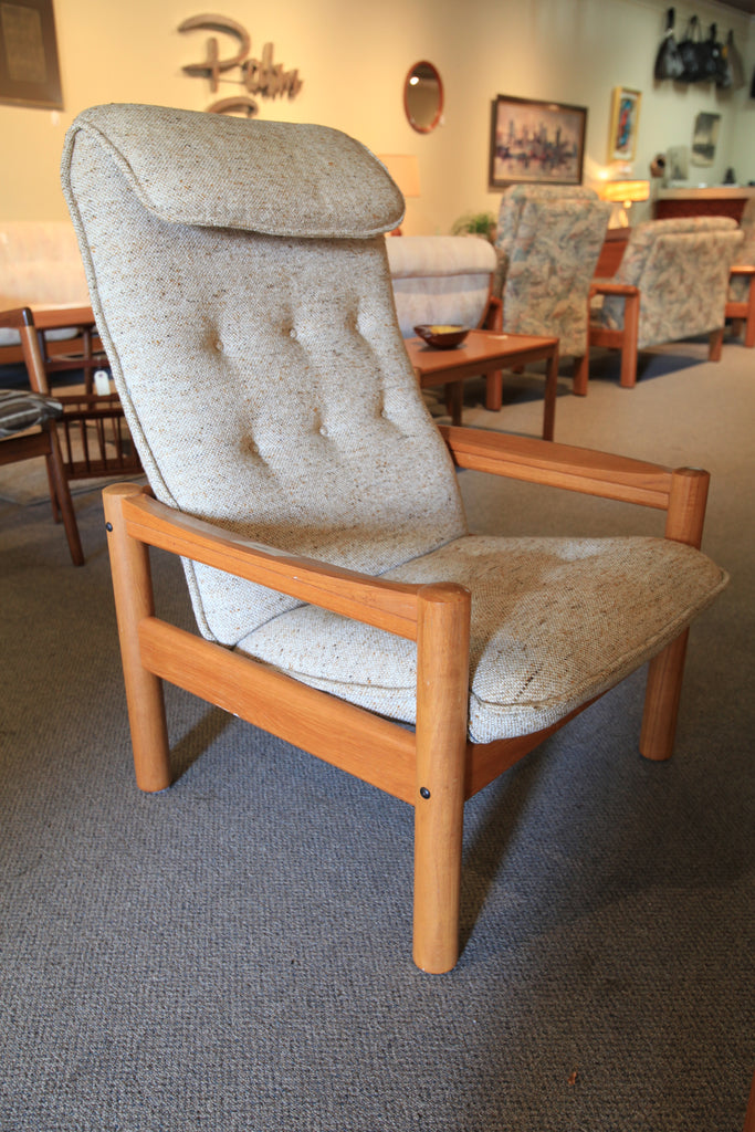 "Vintage Danish Teak High Back Lounge Chair by Domino Mobler (28""Wx28""Dx39""H)"