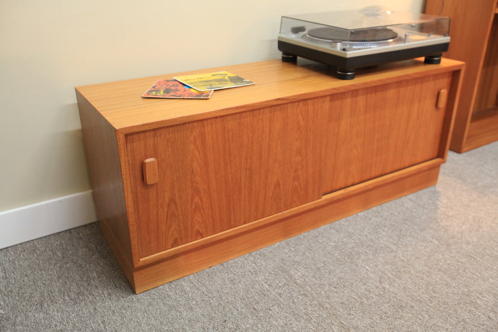 "Vintage Teak Stereo Stand w/ Sliding Doors (47.5""W x 15.75""D x 18.75""H)"