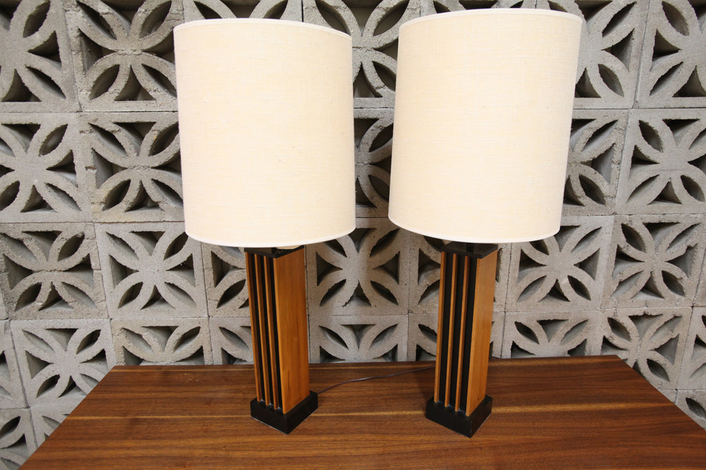 "Set of 2 Vintage Teak lamps (34.5""H x 14"" Dia)"