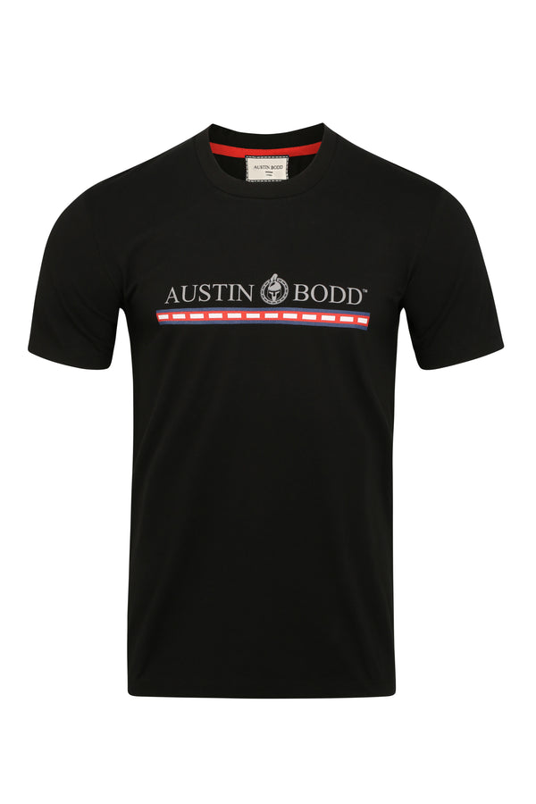 Austin Bodd Logo and Ribbon Print Slim T-shirt