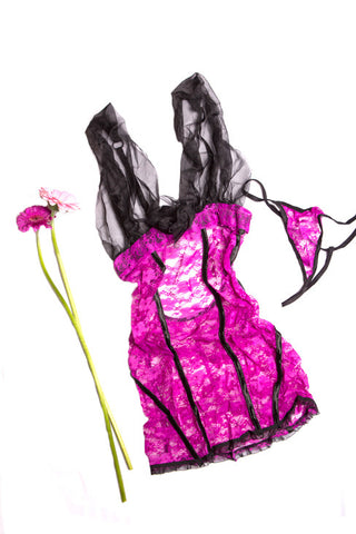 Fuchsia sheer and lace teddy