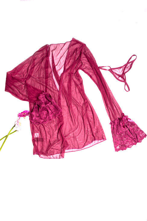 Wine 3 piece Robe and Babydoll Set