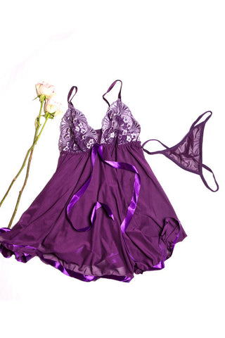 Embroidered bow tied babydoll - Purple