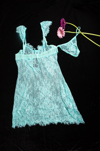 Lace and frills Babydoll - AQUA