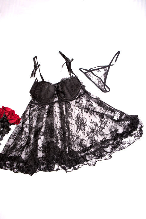 Padded Cupped Lace Babydoll