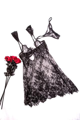 Lace and frills Babydoll - BLACK