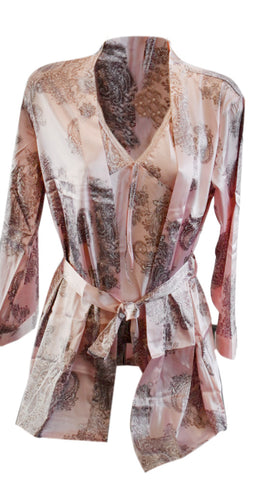 3 piece Oriental Silk Lounge Set - Pastel Pink