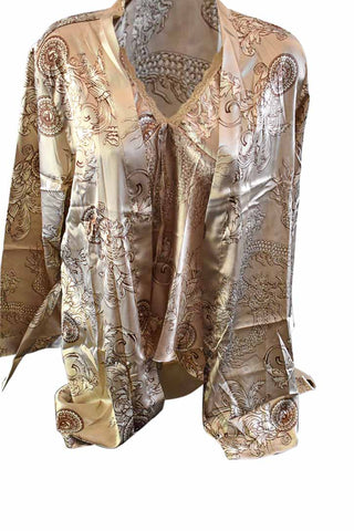 3 Piece Oriental Silk Lounge Set - Gold