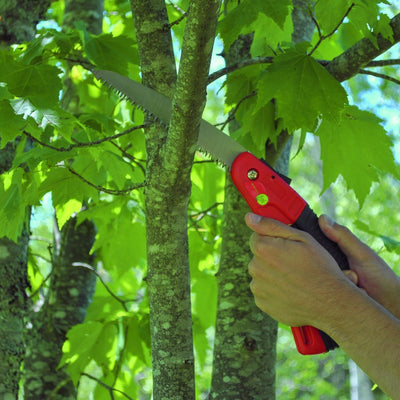 Folding Pruning Saw, Lightweight, D-Saw is Sharp, Easy to Use, Small, Weak Hands, Locking Safety Latch, By The Gardener's Friend