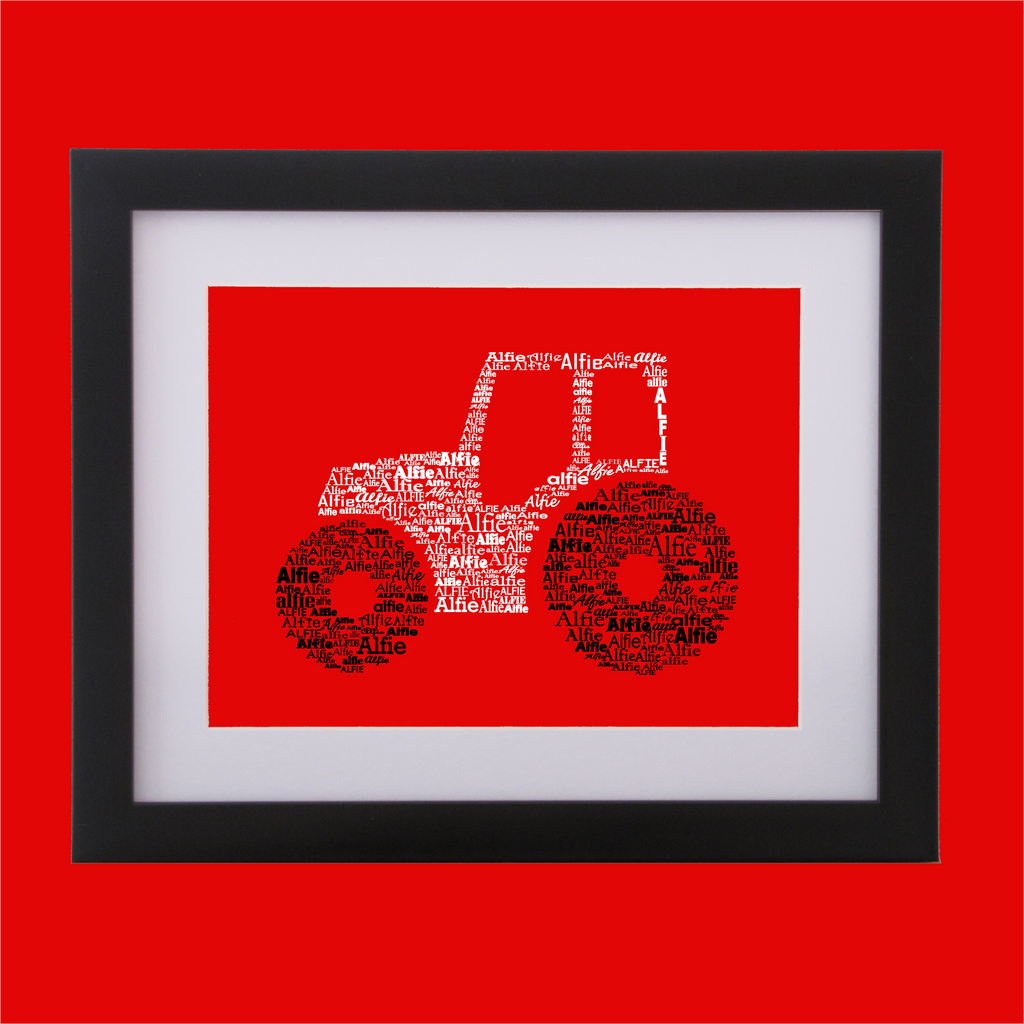 tractor shape designed with words