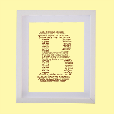 Letter B designed with words