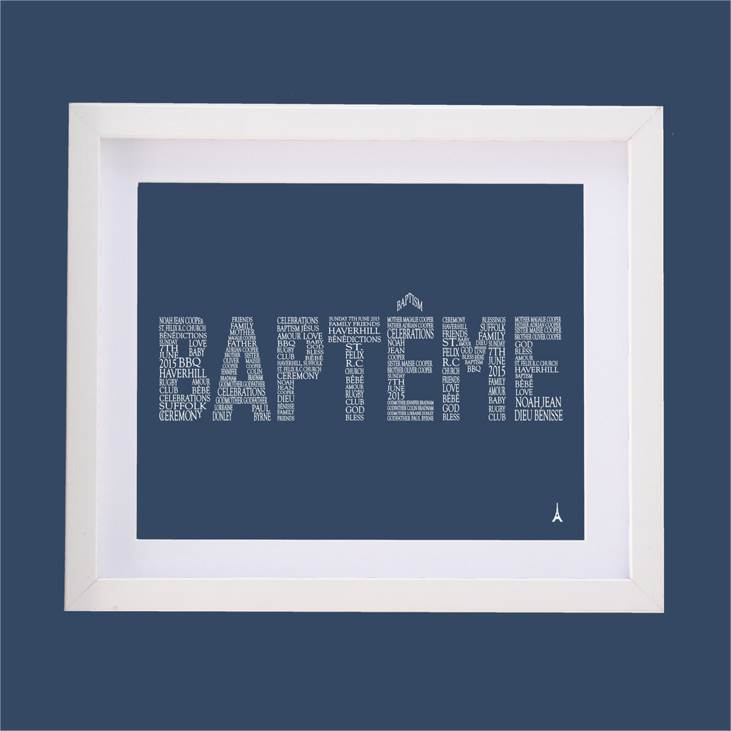 Word Bapteme designed with words