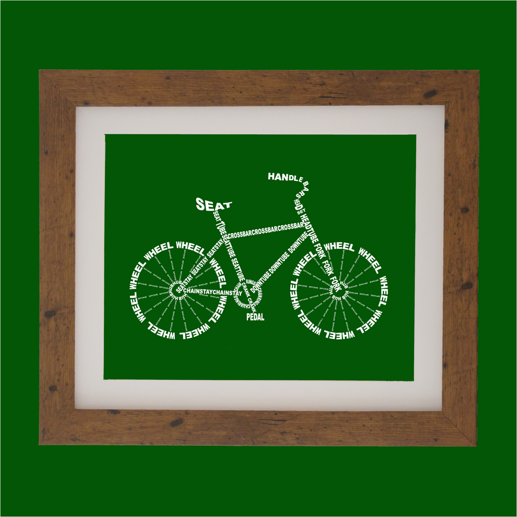 Bicycle shape designed with words