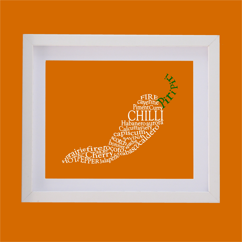 Chilli shape designed with words