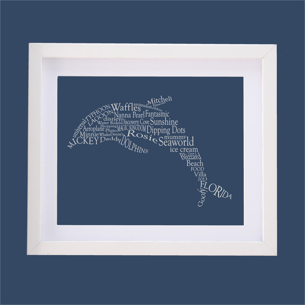 dolphin shape designed with words