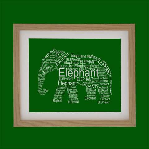 elephant shape designed with words