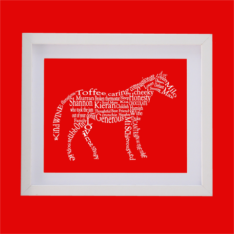 horse shape designed with words