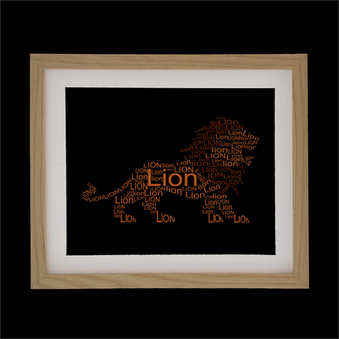 lion shape designed with words