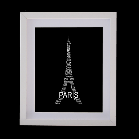 eiffel tower designed with words
