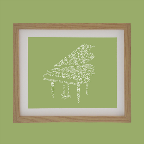 piano shape designed with words