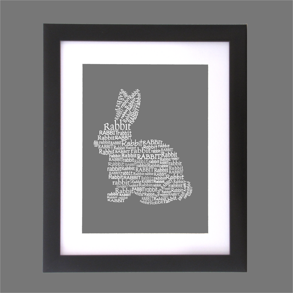 rabbit shape designed with words