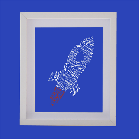 space rocket shape designed with words
