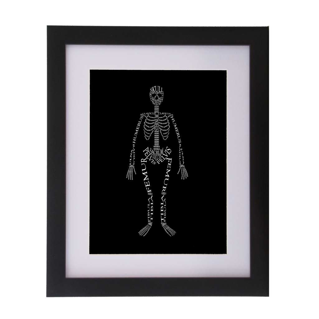 skeleton designed with words