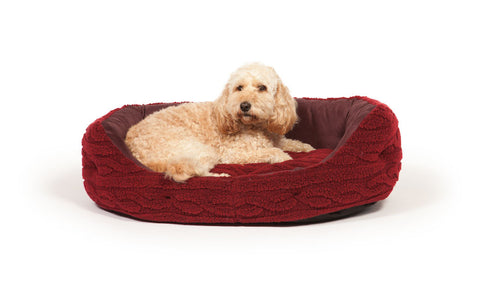 Bobble Deluxe Slumber Bed with Dog in Damson