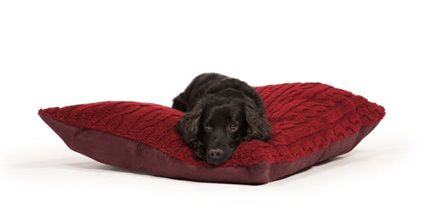 Deep Duvet Dog Bed in Damson with Dog