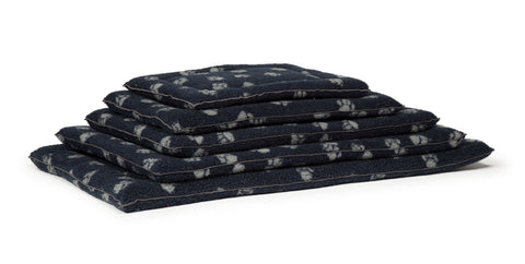 Stack of Sherpa Fleece Cage Mattressess in Navy