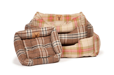 Collection of Newton Range Snuggle Dog Beds in Moss and Truffle