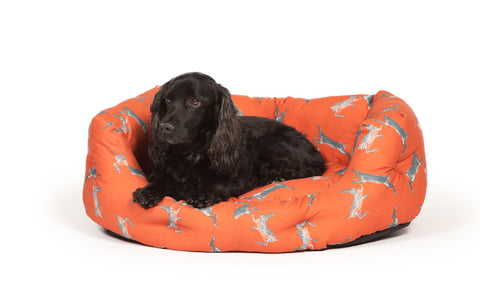 Deluxe Slumber Bed in Woodland Boxing Hares with Dog Lying