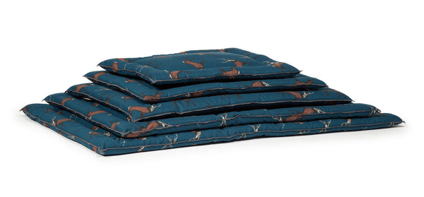 Stack of Woodland Dog Bed Cage Mattresses in Stag Style