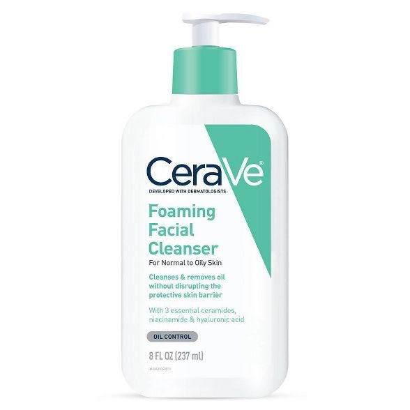 CeraVe Foaming Facial Cleanser for Normal to Oily Skin, Fragrance Free