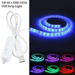 1M USB LED Light Strip with Switch  -  RGB COLOR:BiBset.com