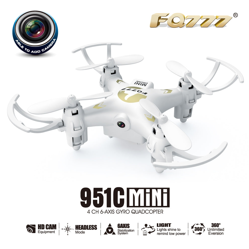 FQ777 951C 2.4G 4CH 6-Axis Gyro 0.3MP Camera RTF RC Quadcopter Drone Toy:BiBset.com