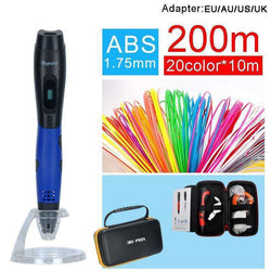 3D pen with 100meter 20colors abs filament oled display 5V 2A USB adapter:BiBset.com