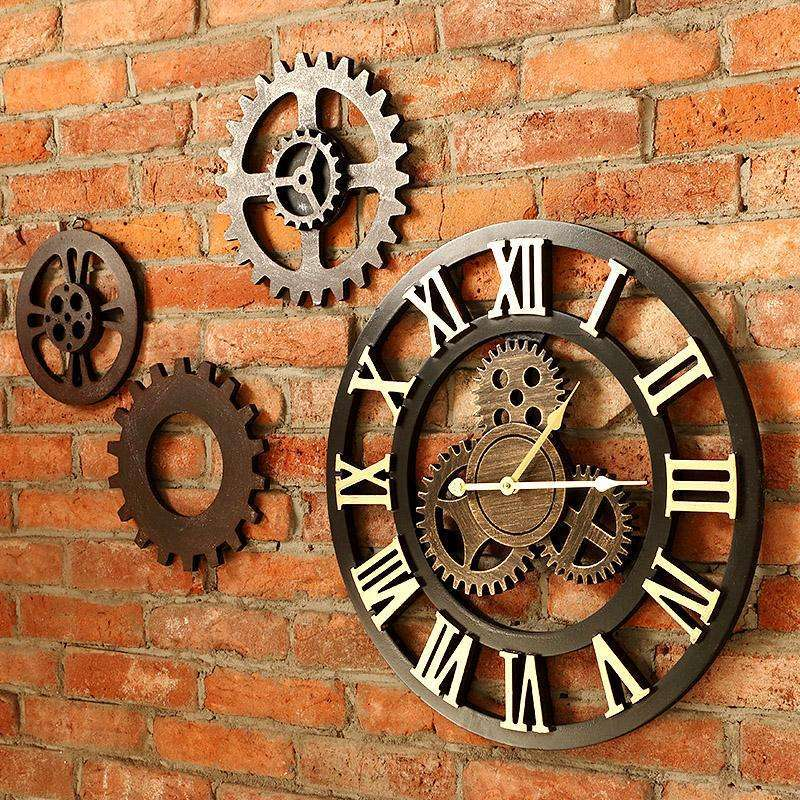 40cm/45cm Handmade 3D retro rustic decorative luxury wall clock:BiBset.com