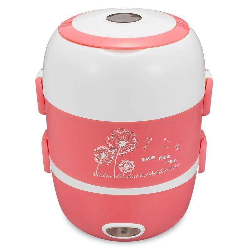 Electric Rice Cooker 2L Heating Lunch Box Stainless Steel 200W 220V:BiBset.com
