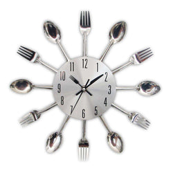 Modern Kitchen Wall Clock Sliver Cutlery Design Home Decor:BiBset.com
