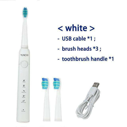 Ultrasonic Electric Toothbrush Wave Clean USB Rechargeable With Replacement Heads:BiBset.com