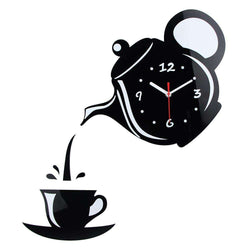 Wall Clock Mirror Effect Coffee Cup Shape Decorative for Kitchen:BiBset.com
