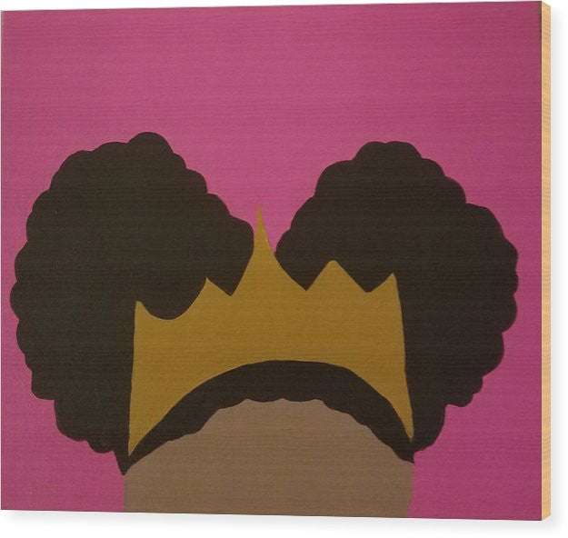Afro Puff Princess - Wood Print