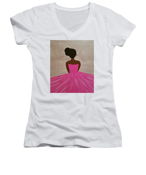 Ballerina - Women's V-Neck T-Shirt (Junior Cut)