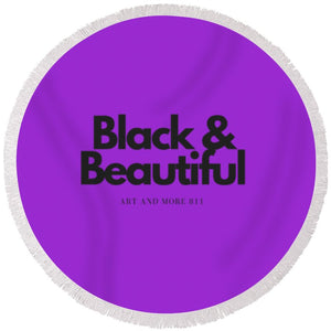 Black And Beautiful - Round Beach Towel