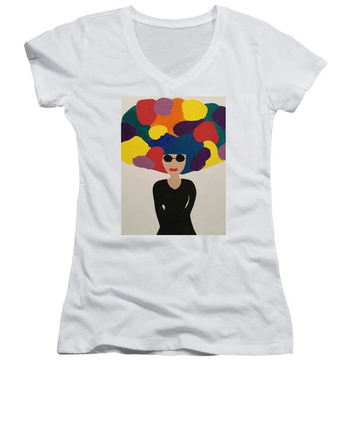 Color Fro - Women's V-Neck T-Shirt (Junior Cut)