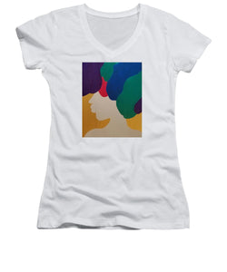 Mardi Gras Afro II - Women's V-Neck T-Shirt (Junior Cut)